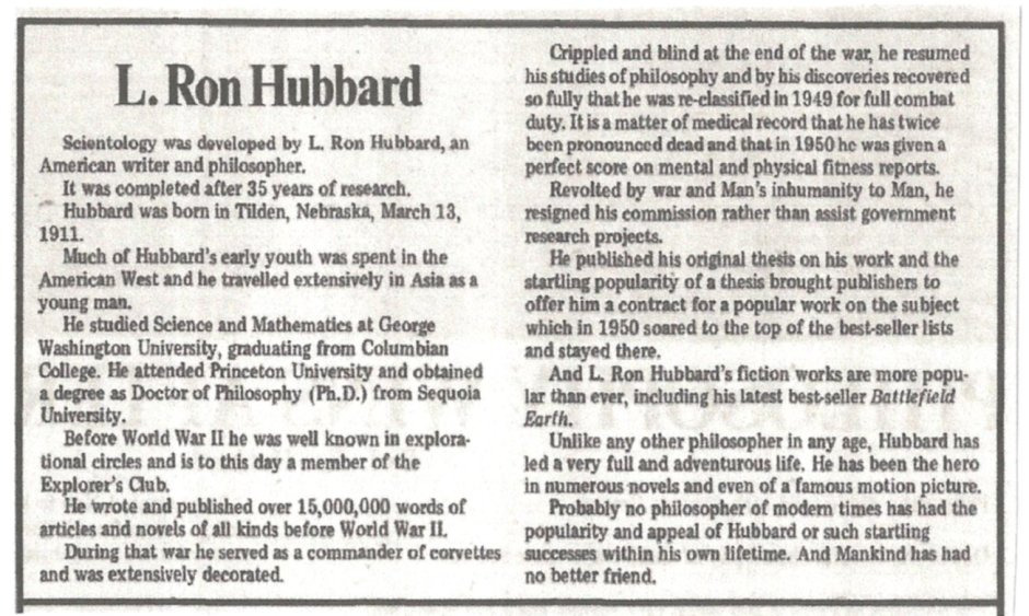 original thesis l ron hubbard Dianetics the original thesis from scientolipedia jump to: navigation, search dianetics 1 he begged lron hubbard to let him read it hubbard demurred.